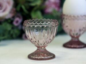 Chic Antique Eierbecher Ei Glas Glaseierbecher Rosé Shabby Chic Vintage