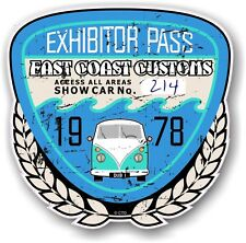 Rétro effet vieilli custom car show exposant pass 1978 vintage vinyl sticker decal