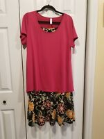 NWT Lularoe L Pink Classic & Medium Maxi with Multi-Color Flowers Retail $77