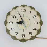 "Retro General Electric Avocado Green Vintage 7"" Wall Clock Flower 60's Works USA"