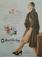 1946 women's natural Royal pastel mink coat Marshall Field & Co vintage ad