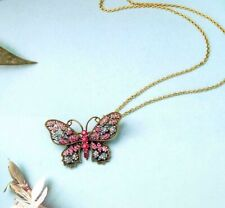 BJ New Fashion rare Alloy rhinestone butterfly Necklaces Pendant Party jewelry