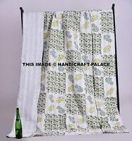 Indian Handmade Kantha Quilt Vintage Queen Bedspread Throw Cotton Bedding Decor
