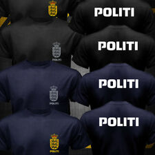 New Dansk Danish Denmark Politi Police Unit logo T-shirt