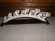 Ivory Color Hand Carved and Painted Elephant Figurines Statue on Wooden Base