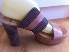 Ladies Tan MOLLINI Heels AUS Size 8 EU 39 Leather Peep Toe Slides Block Platform