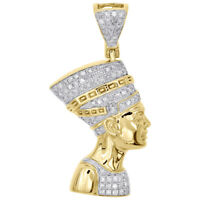 "10K Yellow Gold Diamond Egyptian Queen Nefertiti Pendant 1.30"" Charm 0.44 CT."