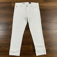 AG Adriano Goldschmied Womens Size 32 White The Stevie Cuff Slim Straight Jeans