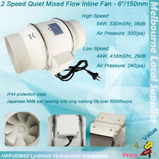 "6""/150mm 2 SPEED QUIET MIXED FLOW INLINE FAN HYDROPONICS VENT DUCT EXTRACTOR"