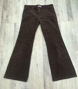 "Ladies Nouveau Flared Brown Cord Trousers Jeans Size 14 L32"" 32/32"