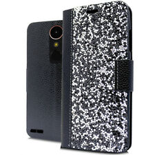 LG M250 K20 Plus Harmony Rock Diamond Fashion Wallet Case Black