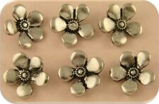 2 Hole Beads Buttons Periwinkle Flowers ~ Silver Plated Metal Sliders ~ QTY 6