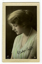1910's Vintage GLADYS COOPER Theater Beauty tinted Britsh photo postcard