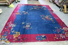 Antique Art Deco Chinese Rug 8'9 x 11'6 Hand Knotted Wool 1940's Ornamental Bold