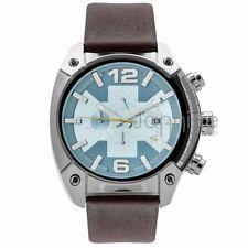 Diesel Authentic Watch DZ4340 Men's OverFlow Blue Dial Black Leather Chron 49mm