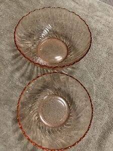 Rose Color Scalloped Serving Bowls By Arcoroc