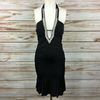 Marciano Black Plunge V Neck Bodycon Sleeveless Short Halter Dress Size S