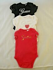 Guess Baby? Lot of 3 One Piece Black, White & Pink  6-9M