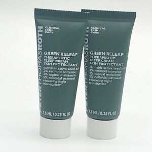 Peter Thomas Roth Green Releaf Therapeutic Sleep Cream 0.25oz 7.5ml Exp12/20 x2