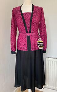Vintage Norman Linton 80s Shoulder Pads Pink & Black Belted Dress Size 14 W Tags