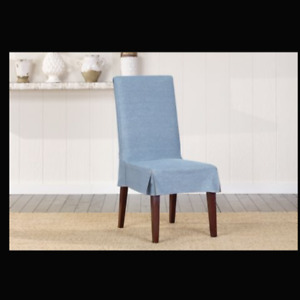 Sure Fit Short Duck cotton denim dining chair washable slipcover NEW chambray B