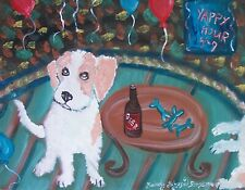 Petit Basset Griffon Vendeen Drinking Beer Art Card 2.5x3.5 Aceo Dog Collectible