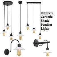 Vintage Retro Industrial Loft Ceramic Shade Wall Sconce Pendant Light Porch Lamp