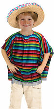 Child Carnival #Unisex Book Week Mexican Striped Poncho Fancy Dress Accessory