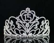 QUINCEANERA 15 FIFTEEN BIRTHDAY PARTY RHIESTONE TIARA CROWN W/ HAIR COMBS T1813