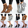 Women's Leopard Snake Printed Pointed Toe Side Zipper Fashion Ankle Boots Shoes