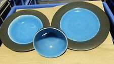 3 Piece Dinner Set ~ Black & Turquoise ~ Plates Bowls ~ Retro Inspired ~ NEW