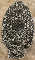 """Mexican Stamped Pottery Ceramic Rectangle Black White Platter Tray 12.5x6.25"""""""