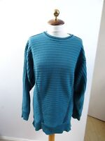 VINTAGE made in Italy wool/acrylic blend textured rib teal batwing jumper  M