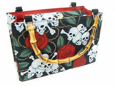 RED ROSE TATTOO SKULLS ROCKABILLY US HANDMADE BAG WITH BAMBOO HANDLE, NEW,