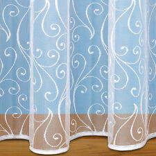 Scroll Design Net Curtain With Rod Slot & Weighted Base - Voile Net Curtains