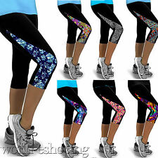 Womens Sports Capri Leggings Running Fitness Yoga Gym 3/4 Pants Skinny Trousers