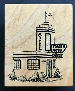 Rare TOWER MOTEL VACANCY SIGN BUILDING STRUCTURE PSX F-3621 Wood Rubber Stamp