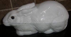 Antique 1886 Atterbury Covered Milk Glass Lying Rabbit, Glass Eyes