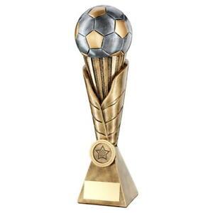 Football/Soccer Trophy - Brz Pew Gold Football On Leaf Burst Column
