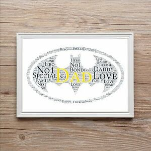 MARVEL Batman PERSONALISED WORD ART Print Dad MAGNETIC Christmas FATHERS DAY DC