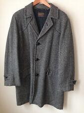 Vintage Pendleton Men's Gray Herringbone Wool Lined Overcoat Coat L or XL