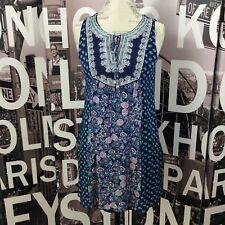 As U Wish Sleeveless Floral Embroidered Spring Dress Tunic Size Small