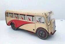 Vintage Wells Brimtoy tin windup clockwork bus CLX-553 made in England-rare.