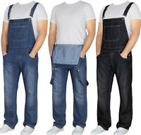 "VON DENIM Mens Dungaree Overalls Jeans Brace Work Big King All Waists 30"" - 46"""