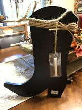 Cowgirl Boot Chalkboard Sign With Spurs And Twine Western Cowboy Decor New!