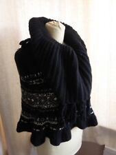 Alexander McQueen black wool chunk knit poncho cape Nordic pattern tassels VGC
