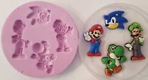 NINETENDO CHARACTERS SILICONE MOULD FOR CAKE TOPPERS CHOCOLATE, CLAY ETC