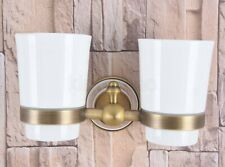 Antique Brass Wall Mounted Bathroom Toothbrush Holder with Double Ceramic Cups