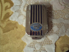 ANTIQUE DOROTHY GRAY , BLUE ENAMEL & SILVERED COMPACT WITH ROUGE & LIPSTICK 1930
