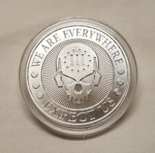 1 oz Silver Skull Punisher Expect Us We Are Everywhere 2nd amendment Round Coin